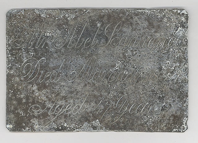 The Free Genealogy Death Record on the Coffin Plate of Abel Lanrence 1797 ~ 1844