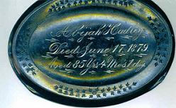 The Free Genealogy Death Record on the Coffin Plate of Abijah Hadley 1794 ~ 1879