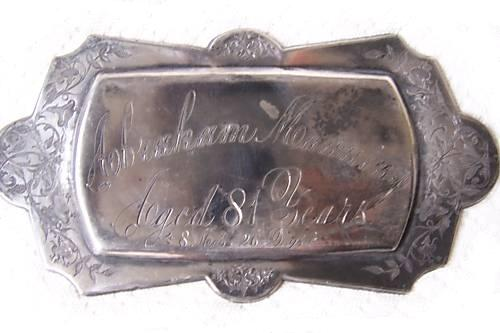 The Free Genealogy Death Record on the Coffin Plate of Abraham Manning