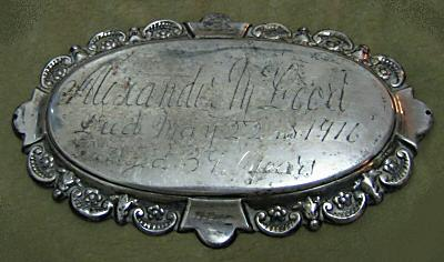 The Free Genealogy Death Record on the Coffin Plate of Alexander Mc Leod 1877 ~ 1916