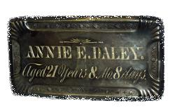 The Free Genealogy Death Record on the Coffin Plate of Annie E Daley