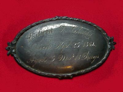 The Free Genealogy Death Record on the Coffin Plate of Edwin P Clark 1864 ~ 1864