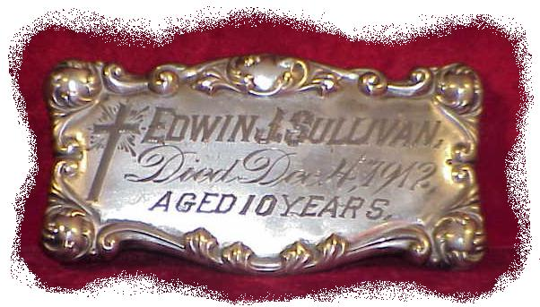 The Free Genealogy Death Record on the Coffin Plate of Edwin J Sullivan 1902 ~ 1912
