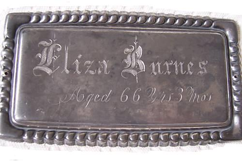 The Free Genealogy Death Record on the Coffin Plate of Eliza Burns