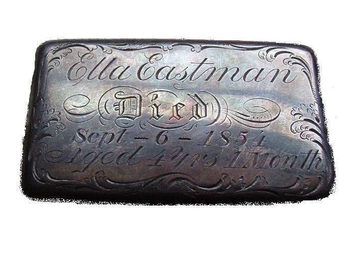 The Free Genealogy Death Record on the Coffin Plate of Ella Eastman