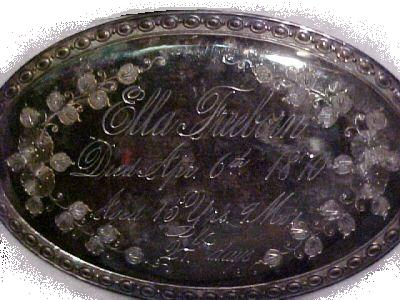 The Free Genealogy Death Record on the Coffin Plate of Ella Freeborn 1855 ~ 1870