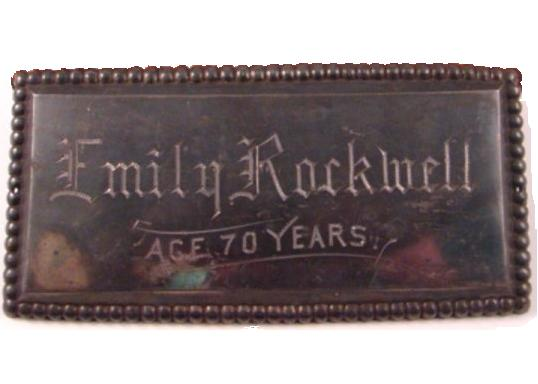 The Free Genealogy Death Record on the Coffin Plate of Emily Rockwell
