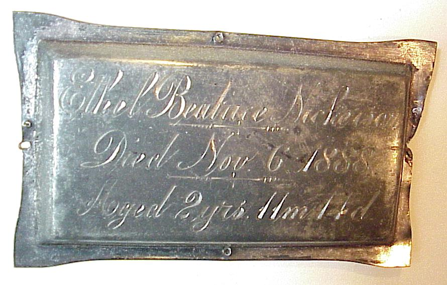 The Free Genealogy Death Record on the Coffin Plate of ethel beatrice nickerson