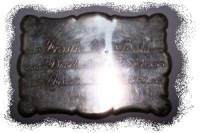 The Free Genealogy Death Record on the Coffin Plate of Frank W Ball 1858 ~ 1862
