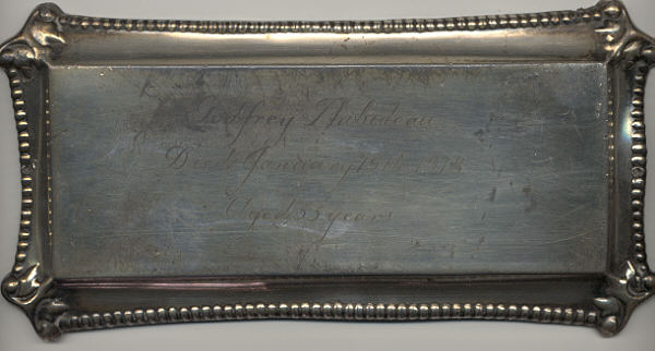 The Free Genealogy Death Record on the Coffin Plate of Godfrey Thibideau 1863~1918