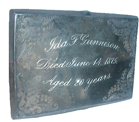 The Free Genealogy Death Record on the Coffin Plate of Ida F Gunnison 1855 ~ 1875