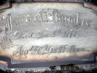 The Free Genealogy Death Record on the Coffin Plate of Jennell Douglas 1833 ~ 1883