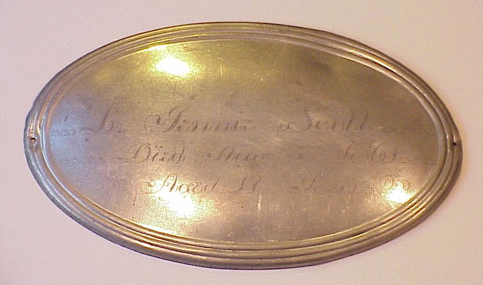 The Free Genealogy Death Record on the Coffin Plate of Jenny Scott died 1861