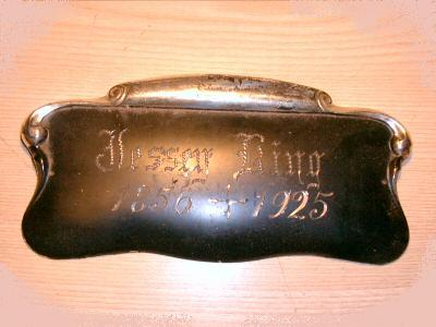 Free Death Record on the Coffin Plate of Jessey King 1856~1925 is Free Genealogy