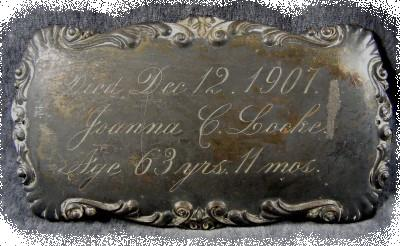 The Free Genealogy Death Record on the Coffin Plate of Joanna C Locke 1844 ~ 1907