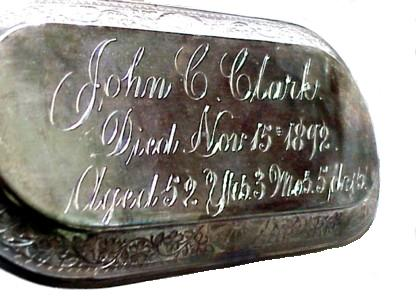 The Free Genealogy Death Record on the Coffin Plate of John C Clark 1840 ~ 1892