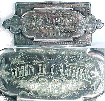 The Free Genealogy Death Record on the Coffin Plate of John H Carbee 1791 ~ 1877