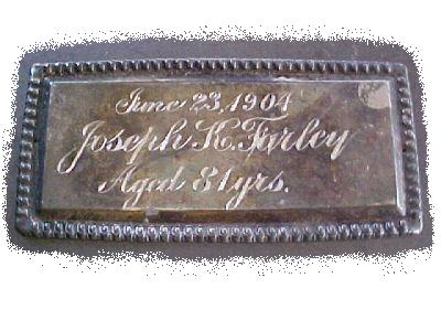 The Free Genealogy Death Record on the Coffin Plate of Joseph K Farley 1823 ~ 1904