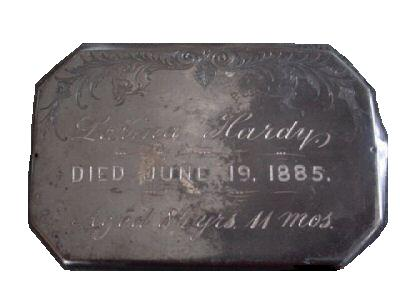 The Free Genealogy Death Record on the Coffin Plate of Larina Hardy 1801 ~ 1885