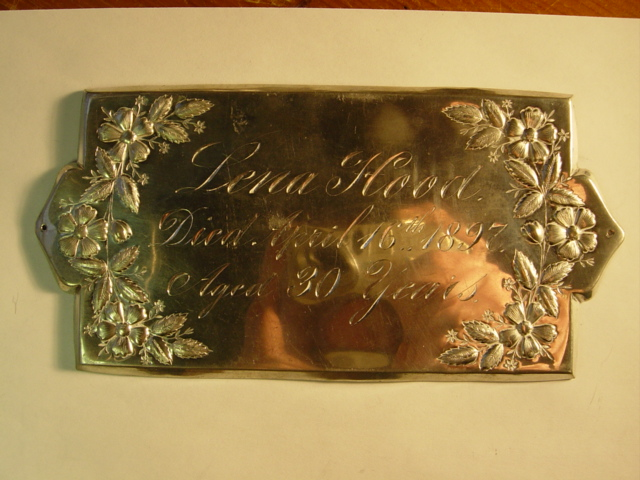 The Free Genealogy Death Record on the Coffin Plate of Lena Hood 1867 ~ 1897