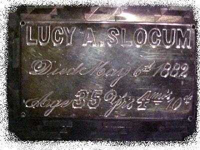 The Free Genealogy Death Record on the Coffin Plate of Lucy A Slocum 1847 ~ 1882