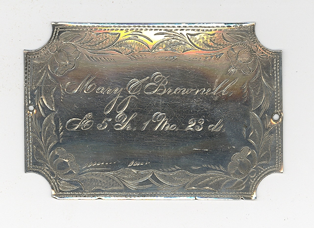 The Free Genealogy Death Record on the Coffin Plate of Mary J Brownell