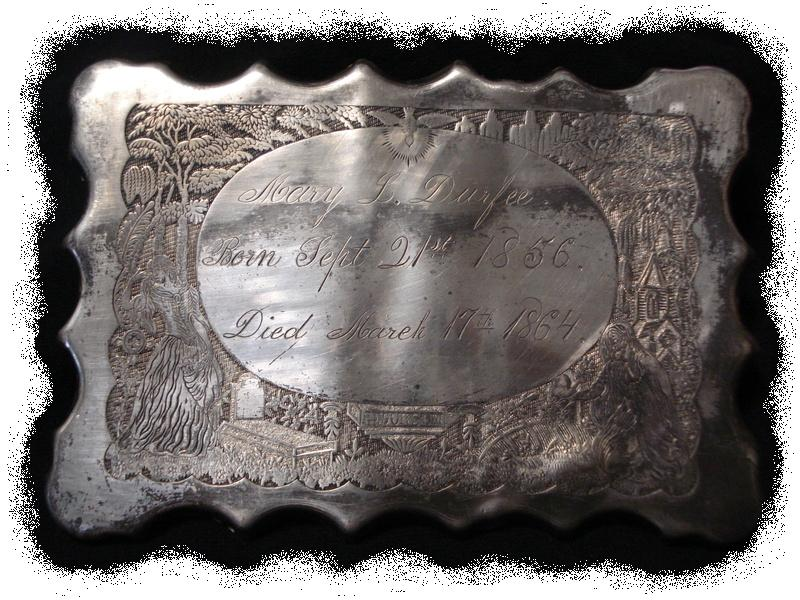 The Free Genealogy Death Record on the Coffin Plate of Mary L Durfee 1856 ~ 1864