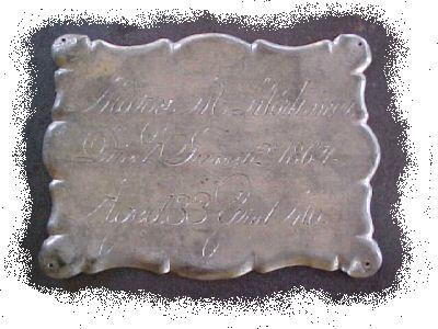 The Free Genealogy Death Record on the Coffin Plate of Mary M Mortmer 1831~1864