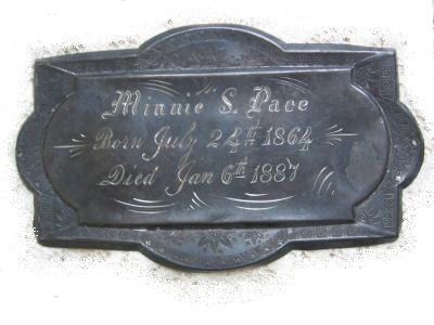 The Free Genealogy Death Record on the Coffin Plate of Minnie S Pace 1864 ~ 1887