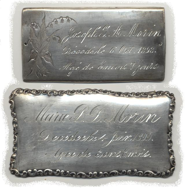 The Free Genealogy Death Record on the Coffin Plates of Joseph Morin and Marie Morin