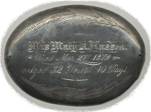 The Free Genealogy Death Record on the Coffin Plate of Mary K Hazzen 1797 ~ 1879
