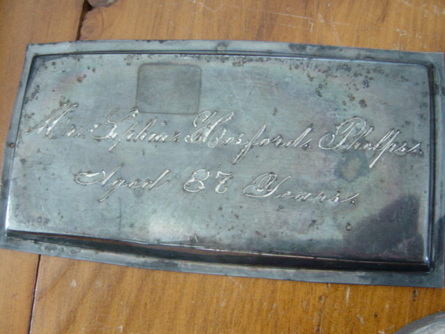 The Free Genealogy Death Record on the Coffin Plate of Mrs Sophia Hosford Phelps