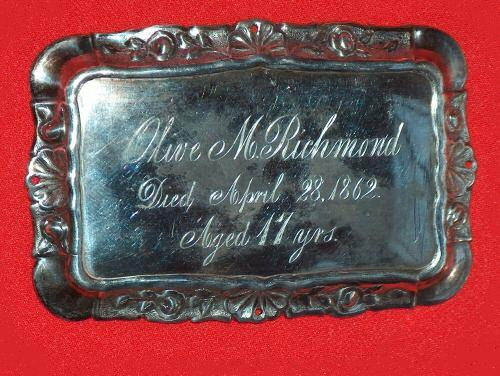 The Free Genealogy Death Record on the Coffin Plate of Olive M Richmond 1845 ~ 1862