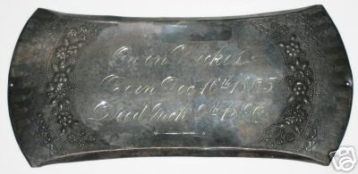 The Free Genealogy Death Record on the Coffin Plate of Owen Wickes