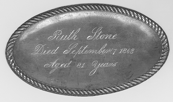 The Free Genealogy Death Record on the Coffin Plate of Ruth Stone 1782~1863