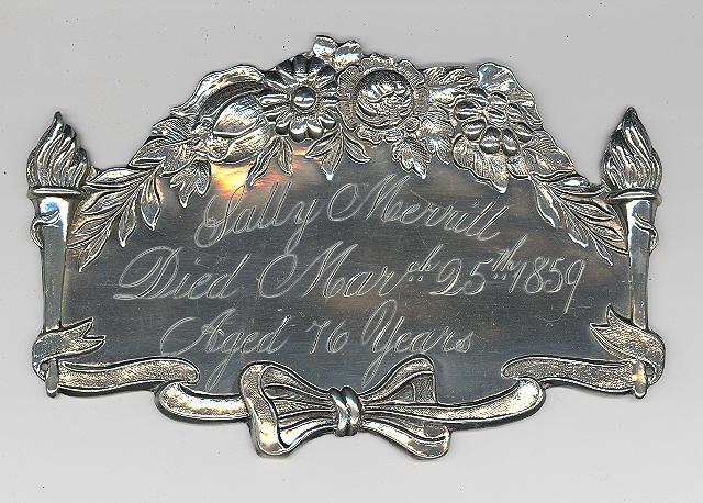 The Free Genealogy Death Record on the Coffin Plate of Sally Merrill 1783 ~ 1859