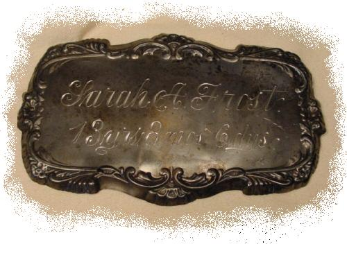The Free Genealogy Death Record on the Coffin Plate of Sarah A Frost