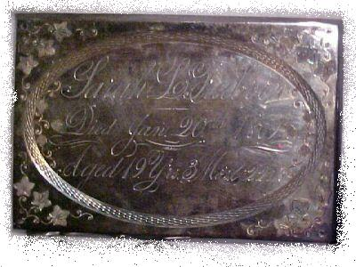 The Free Genealogy Death Record on the Coffin Plate of Sarah L Freeborn 1850 ~ 1869