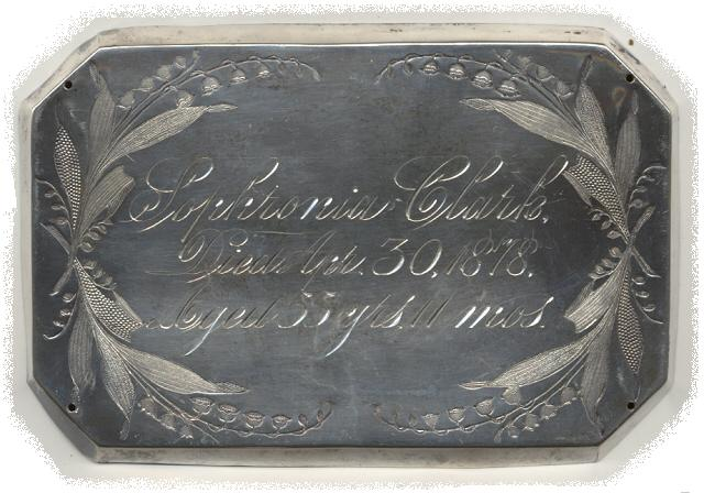 The Free Genealogy Death Record on the Coffin Plate of Sophronia Clark 1823 ~ 1878