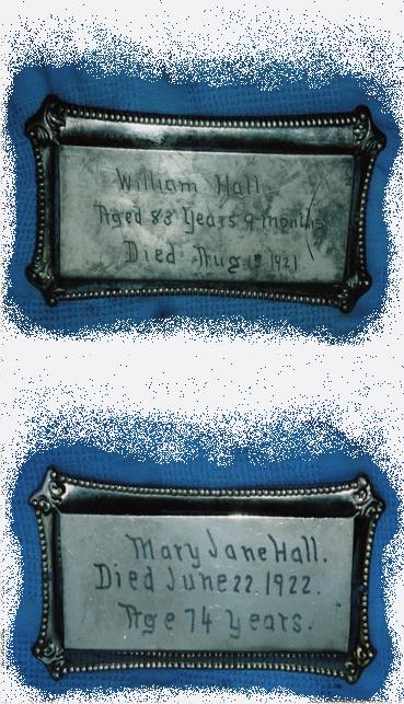The Free Genealogy Death Record on the Coffin Plate of William Hall and Mary Jane Hall