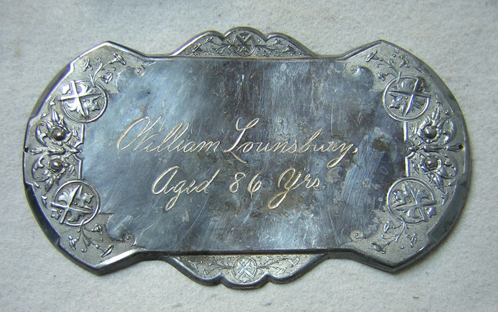 The Free Genealogy Death Record on the Coffin Plate of William Lounsbury