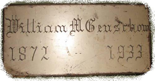 The Free Genealogy Death Record on the Coffin Plate of William M Genschow 1872 ~ 1933