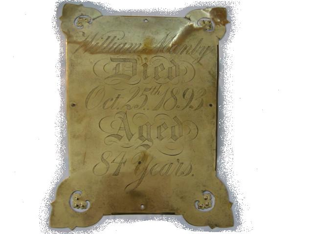 The Free Genealogy Death Record on the Coffin Plate of William Manly, Martha Manly and George Manly