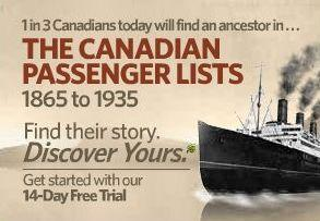 Canadian Passenger Lists 1865-1935 on Ancestry.com