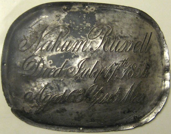 Death Record on the Coffin Plate of Nahum Russell died 1854