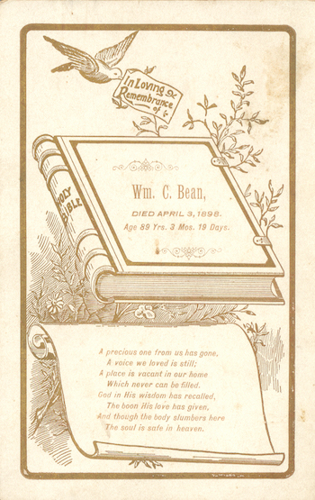 Funeral Card William Collins Bean 1808-1898