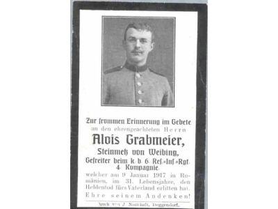 Death Record on the Memorial Card of Alois Grabmiere
