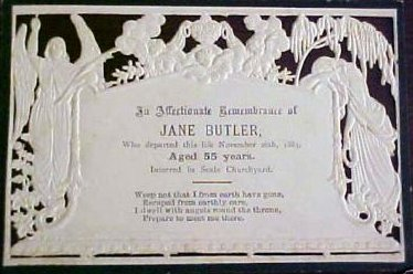 Funeral  Memorial Mourning card JANE BUTLER 1828 - 1883 Interred in Seale churchyard England