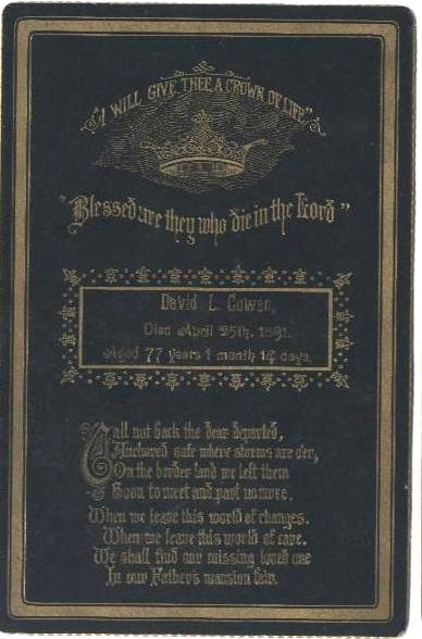 Funeral Card for David L. Cowen 1814 - 1891, Pennsylvania
