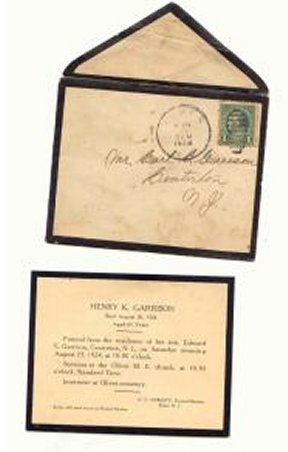Memorial Card for Henry K. Garrison, died 1924 in Centerton, New Jersey